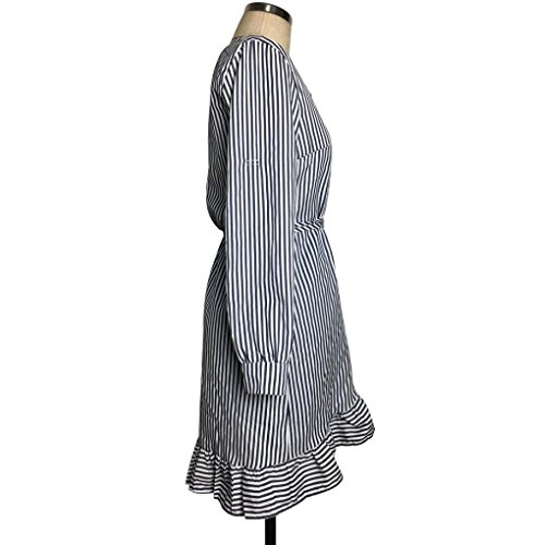 Dress Striped Dress Sleeve Crystell Straight 2017 Asymmetrical Long Printing Slim Splicing Stripe Womens qaw7AFA
