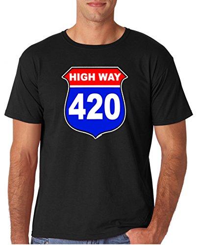 Adult Highway 420 Marijuana Weed T Shirt Large Black