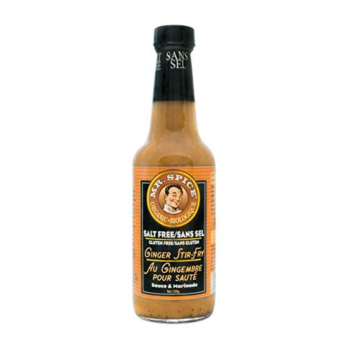 Mr. Spice - Organic Ginger Stir Fry Sauce -Healthy Salt Free Marinade - Fat Free - Gluten Free - Vegan - Low - Shrimp Beef Stir Fry