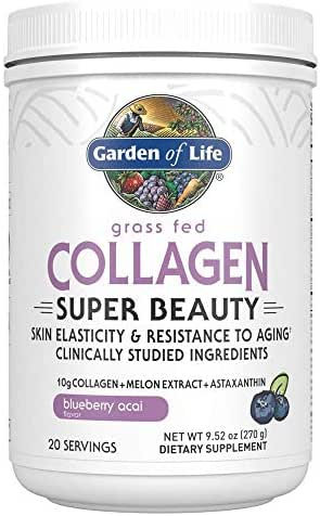 Garden of Life Grass Fed Collagen Super Beauty Powder - Blueberry Acai, 20 Servings, Collagen Powder for Women Skin Hair Nails Joints, Collagen Peptides Powder, Collagen Protein, Collagen Supplements