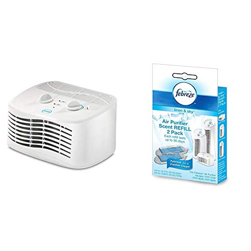 Febreze FHT170W HEPA-Type Tabletop Air Purifier with Febreze HWLFRF102L Scent Refill, Linen and Sky, 2-Pack FRF102L…