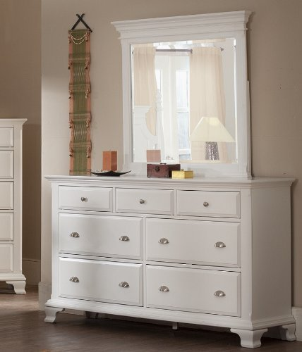 (Roundhill Furniture Laveno 012 White Wood 7-Drawer Dresser and)