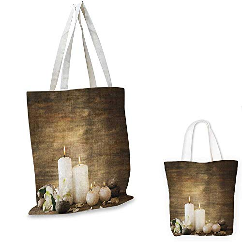 """Price comparison product image Spa canvas messenger bag Composition of Pure Candles Wooden Background with Stones and Flower Petals Print canvas beach bag Brown and White. 16""""x18""""-13"""""""