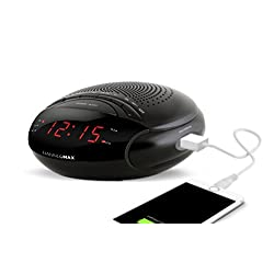 Hannlomax HX-200 Dual Alarm Clock Radio with USB Port for Charging, Sleep & Snooze Function, Electronic Volume