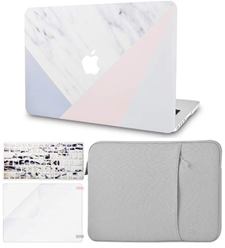"""KECC Laptop Case for Old MacBook Pro 15"""" Retina (-2015) w/Keyboard Cover + Sleeve + Screen Protector (4 in 1 Bundle) Plastic Hard Shell Case A1398 (White Marble with Pink Grey)"""