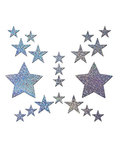 iHeartRaves Pastease Silver Glitter Star Pasties and Body Stickers Set (Silver)