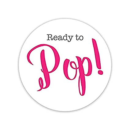 Ready To Pop Sticker 48 PCS Circle Baby Shower Stickers 2 Inch Party Favor Popcorn Bag