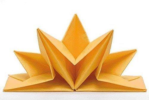 Tovaglioli Venezia, colore: giallo, già piegati, contenuto pro pacchetto: 12 pcs, a forma di stella, decorazione della tavola, decorazione della tavola, matrimonio, Natale, battesimo, anniversario Sona-Lux