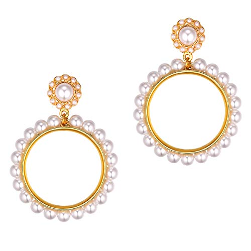 Large Dangle Earring Women Girls Party Luxury Statement White Round Pearls Hypoallergenic 925 Sterling Silver Pin 18K Gold Plated Art Deco Fashion Bohemian Jewelry Drop Big Circle Loop Earrings