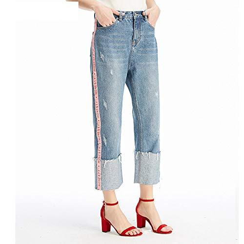 Bequeme gestreiften MVGUIHZPO Jeans Femme M Punkt Jeans neun Jeans Neue Cowboy Lose gestreiften XqxUwHBqA