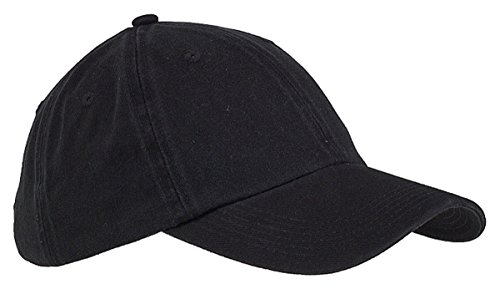 Big Accessories 6-Panel Washed Twill Low-Profile Cap (BX005)- Black,One Size
