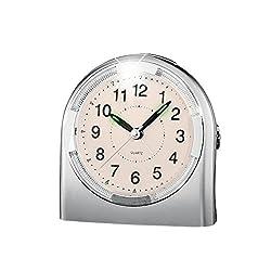 Heavy Sleeper's Alarm Clock for Bedroom with Night Light, Silver