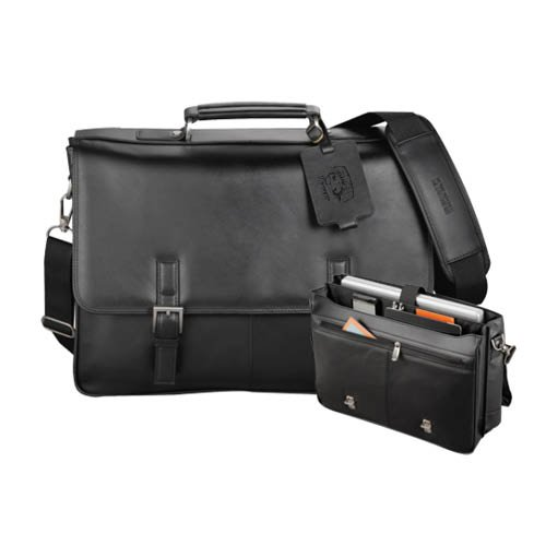 Caltech Kenneth Cole Manhattan Leather Compu Messenger 'Official Logo - Arched CalTech w/ Beavers Dobossed' by CollegeFanGear