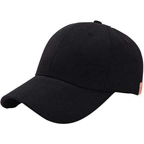 Birdfly Classical Plain Style Cotton Baseball Caps in Ten Color for s Young Men Women Pop Fashion Cap (Adjustable, Black) -