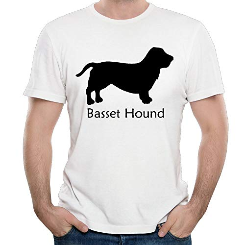 (WYLJY Men's Casual Crewneck Short-Sleeve T-Shirt Basset Hound Shirts Tees)