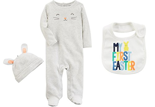 Carter's Baby Girl's My First Easter 3 Piece Bunny Jumpsuit Romper, Hat and Bib Set (3 Months)