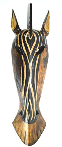 (LG Zebra Hand Carved Tribal Head MASK Scratch and DENT)