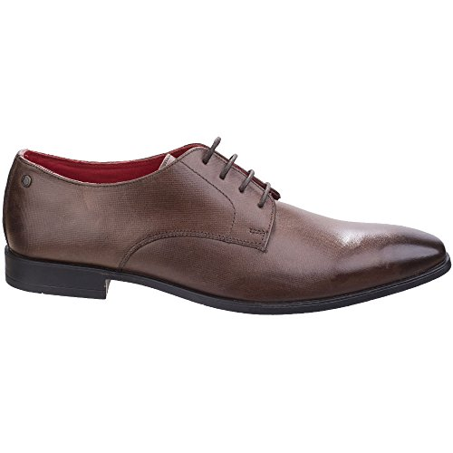 Base London Mens Shilling Waxy Leather Chiselled Tip Derby Style Shoes Brown