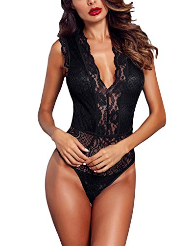 Momodani Women's Sexy Lace Bodysuit Triangle V Neck Hollow-Out Full Back One Piece Lingerie Teddy,Black,Large