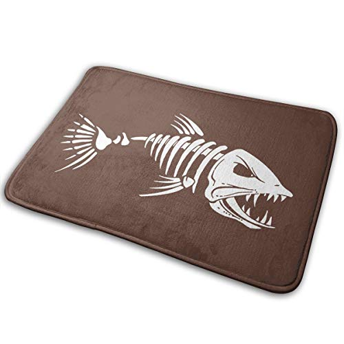 Warm-Tone Bones Fish Memory Foam Bath Mat Non Slip Absorbent Super Cozy Soft Velvet Bathroom Rug Carpet, 15.75