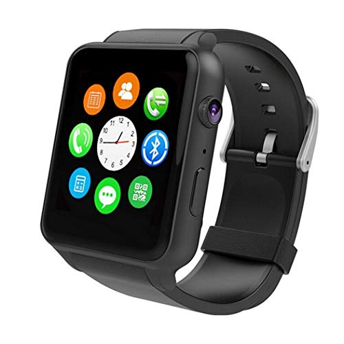 Wingtech Color Screen Bluetooth IP57 Smart Watch Pedometer Activity Tracker Heart Rate Monitor Watch with Camera Sim Card Slot Wrist Watch for iOS/Android Smartphones for Men,Women and Kids(Black) (Cell Phones That Only Text And Call)