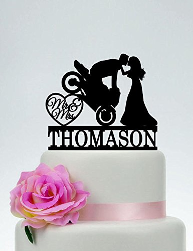 Amazon motorcycle wedding cake topper mr and mrs cake topper motorcycle wedding cake topper mr and mrs cake topper groom on motorcycle custom cake topper funny junglespirit Image collections