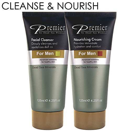 Premier Dead Sea Facial Cleanser + Nourishing Cream for Men Kit Exclusive ONE + ONE
