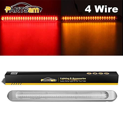 Partsam Thin LED Trailer Lights Truck Tail Light Bar 47LEDs Red-Amber 4 Wires for Rear Lights Turn Signal Lights Brake Lights Running Lights Clear Lens
