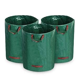 growneer 3unidades 72galones jardín bolsa de basura bolsas de jardinería césped hojas reutilizables