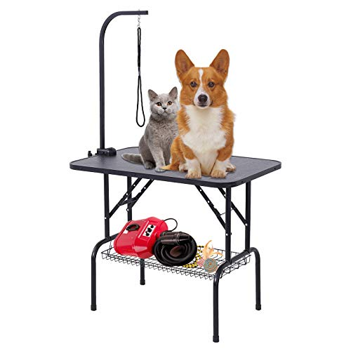SUNCOO 32 Inches Adjustable Pet Dog Cat Grooming Table Professional Foldable Height Drying Trimming Table w/Arm & Noose & Mesh Tray ()