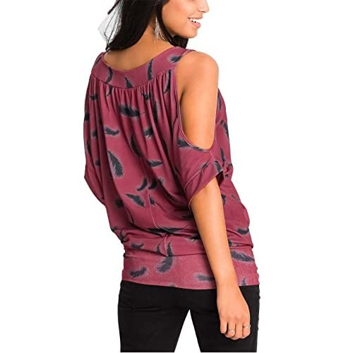 7d4827137d41dc DREAGAL Women s Feather Print Loose T Shirt Cutout Cold Shoulder Blouse Tops  50%OFF