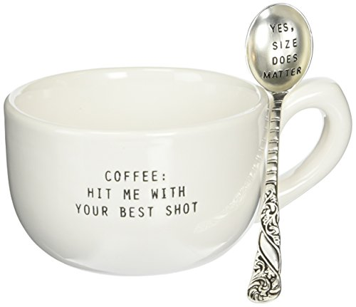 Mud Pie Yes Size Does Matter Mug Set, White (Mud Pie Tea Cup compare prices)