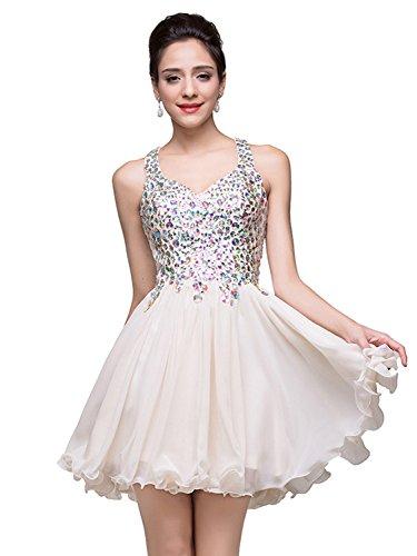 Juniors Short Prom Dresses 2018 for Semi Formal Ivory Size 2 (Neck Beading Chiffon Sweetheart)