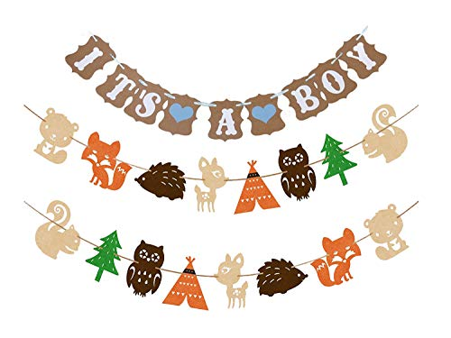 Woodland Creatures Banner & It's a Boy Banner Forest Animal Friends Party Supplies Banner Baby Shower Party Decorations Birthday Party Favors Photo Prop (2 set Animal Banners + It's a -