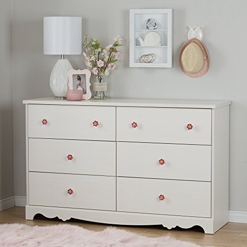 South Shore Lily Rose 6-Drawer Double Dresser, White Wash by South Shore