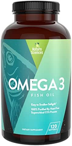 Omega 3 Essential Fatty Acid Fish Oil Supplement By Naturo Sciences - Best EPA 900mg and DHA 600mg Per Serving - Supercritical Extraction Process for Quality Purified Omega-3 Supplements 120 Soft Gels