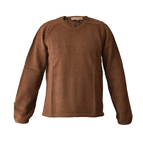(Alpaca Basics Men's Handmade 100% Alpaca Wool V-Neck Sweater (Brown,)