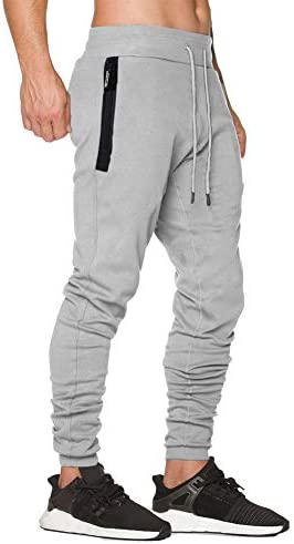 Wohthops Athletic Pants for Men Casual Workout Track Pants Slim Fit with Zipper Pockets
