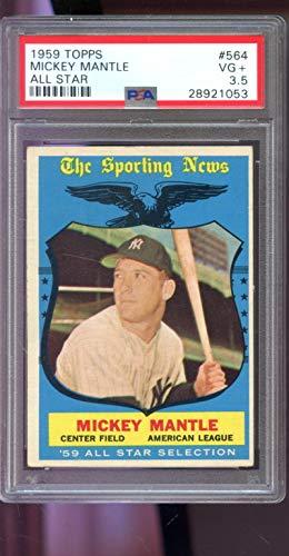 1959 Topps #564 Mickey Mantle All-Star New York Yankees MLB PSA 3.5 Graded Baseball Card