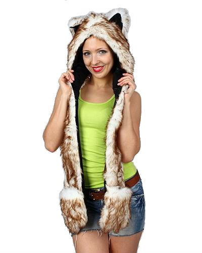 [Brown Wolf Anime Faux Animal Hood Hoods Mittens Gloves Scarf Spirit Paws Ears] (Wolf Head Hat)