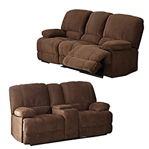 Christies Home Living Kevin 3-Piece Brown Contemporary Fabric Sofa and Loveseat Reclining Living Room Sectional with 4 Reclining Seats