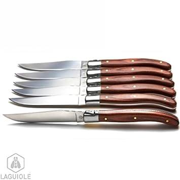 LAGUIOLE 6 cuchillos madera exotica de mesa se presentan en ...