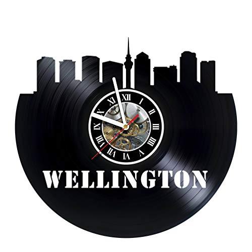 artVoloshka Wellington City - Wall Clock Made of Vinyl Record - Decor Original Design - Great Gifts idea for Birthday, Wedding, Anniversary, Women, Men, Friends, Girlfriend Boyfriend and Teens -
