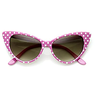 1950s Sunglasses & Eyeglasses Frames zeroUV - Polka Dot Cat Eye Womens Mod Fashion Super Cat Sunglasses $9.99 AT vintagedancer.com