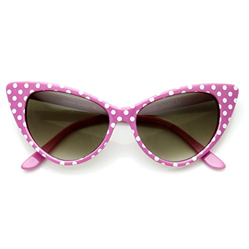 zeroUV - Women's Retro Polka Dot Oversize Cat Eye Sunglasses 54mm (Pink-White/Smoke -