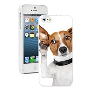 Apple iPhone 4 4S 4G White 4W600 Hard Back Case Cover Color Funny Jack Russell Listening with Ear wangjiang maoyi