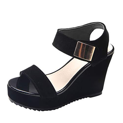 (Mysky Women Summer Fashion Classic Pure Color Peep Toe Thick Platforms Wedge Sandals)