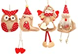 Welldone Christmas Ornaments Hanging Tree Decorations - 8pcs Burlap Owl Bird Santa Claus Angel