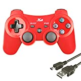 Wireless Bluetooth Controller 6-AXIS Game Pad Double Shock Joystick for PS3 Controller PlayStation 3 Controller with Free Charging Cable Kabi (Red)