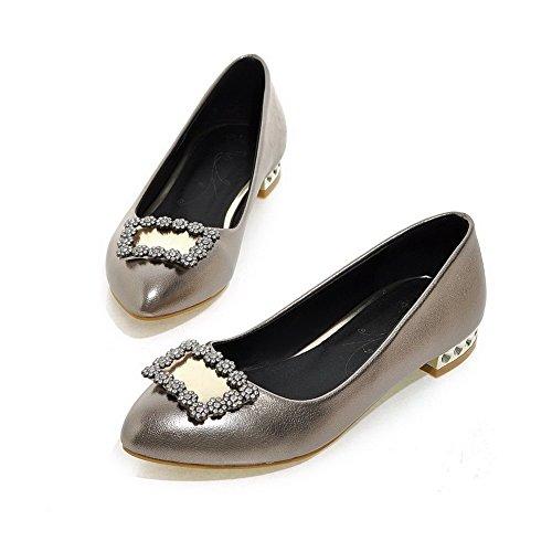 Gris Légeres PU Tire Femme Couleur Unie Cuir AgooLar Pointu Chaussures pzTwqZ